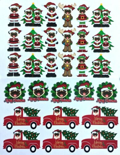 Fawn Pug Christmas Glossy Vinyl Stickers
