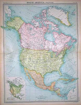 1920 LARGE MAP ~ NORTH AMERICA POLITICAL ~ 23
