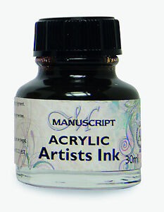 MANUSCRIPT 30ml DIP PEN ACRYLIC INK 12 COLOURS ARTISTS CALLIGRAPHY AIR BRUSH