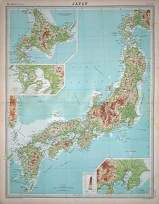 1920 LARGE MAP ~ JAPAN ~ INSET YEZO NAGASAKI TOKYO ~ 23