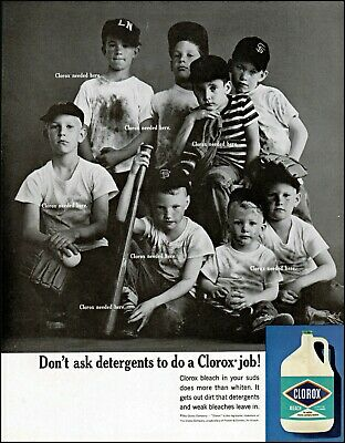 1963 Boys in dirty baseball clothes laundry cleaner vintage photo print ad adl83