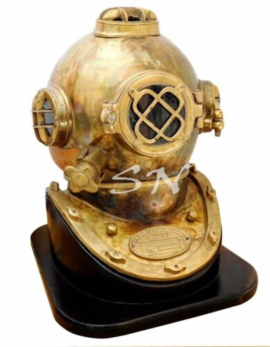 "Brass Scuba Boston Morse 18"" Divers Diving Helmet Mark V Rare Antique Piece Gift"