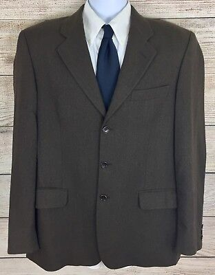 Angelo Nardelli Italy Men's Brown 3 Button Double Vent 100% Wool Sport Coat 42 R