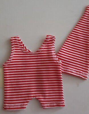 Schlafanzug (Body & Mütze)  rot-weiss gestreift für 18-20 cm Bären