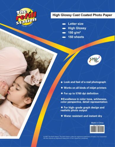 150 Sheets High Glossy Photo Paper, Premium 8 x 11, 150 grams weight,