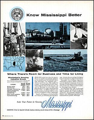 1958 Mississippi Agricultural Industrial Board vintage photo print ad L39