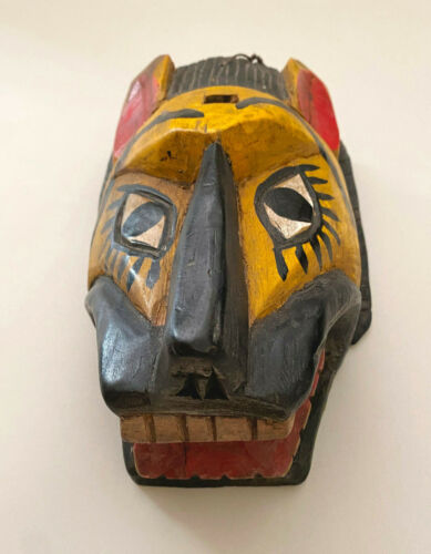 Vintage Wood Hand Carved Animal Mask ~ Guatamala?