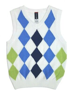 Sweater Vest Boys Navy Argyle Knit V Neck Pullover Kids Size 4 5 6 7 White New - Boys Sweater Vest