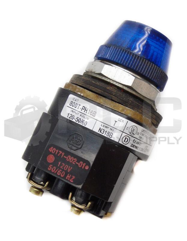 ALLEN BRADLEY 800T-PH16B BLUE PILOT LIGHT SER T 120V 50/60HZ W/ TRANSFORMER