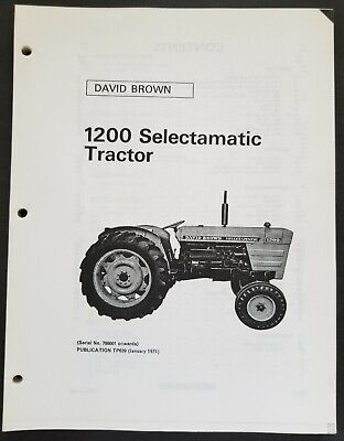 David Brown - 1200 Selectamatic Tractors Dealer Parts Book Manual - 1971