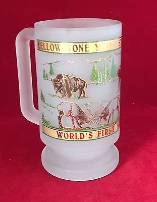 NEW - Yellowstone National Park 16oz Frosted Glass Mug Stein.- NEW