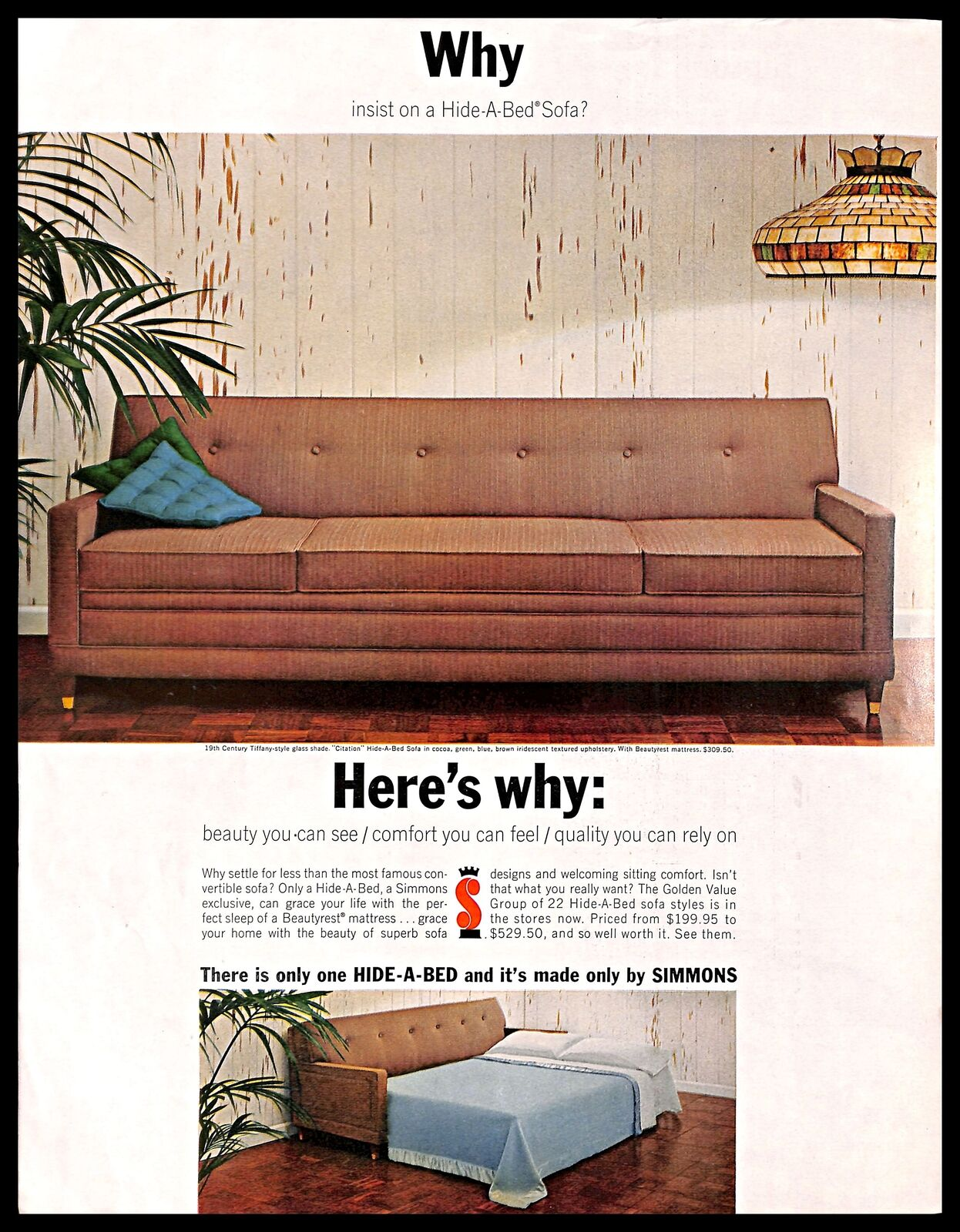 1963 Simmons Hide A Bed Sofa Vintage PRINT AD Convertible Furniture Home Decor