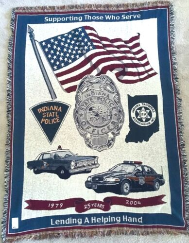 Indiana Police & State Trooper Association Throw Blanket Made in USA #A20