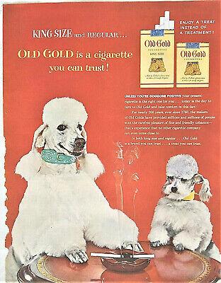 Vintage Advertising Print Old Gold Cigarettes, Poodles at Card Table, 1954