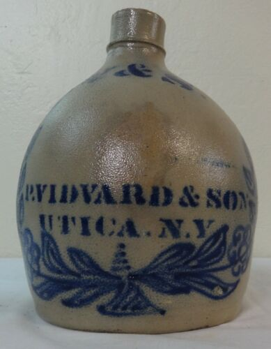 Antique Stoneware Jug Cobalt Blue Advertising P. Vidvard & Son, Utica, NY.