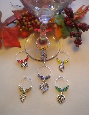 Set of 6 Wine Glass Charms Fall Leaves - Gift Idea or Thanksgiving Table Decor](Fall Decorations Ideas)