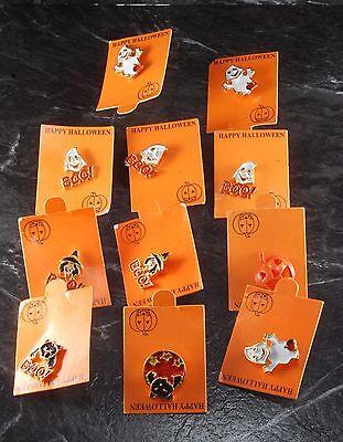 Vintage Cast Metal Enamel Halloween Pin Lot Of 11 Ghosts Witch Pumpkin Cat NOS