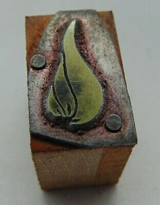 Vintage Printing Letterpress Printers Block Small Flame Fire