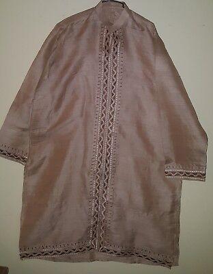 Pakistani / Indian Men's traditional kurta / sherwani Raw Silk Eid wear (Raw Silk Kurta)