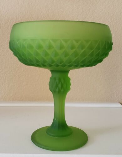 "Vintage! Frosted Green Pedestal Candy Bowl 7.5"" Tall"