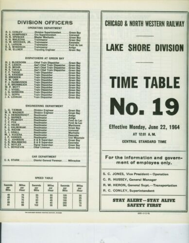 CHICAGO & NORTH WESTERN RAILWAY ETT TIMETABLE LAKE SHORE DIVISION #19  6-22-1964