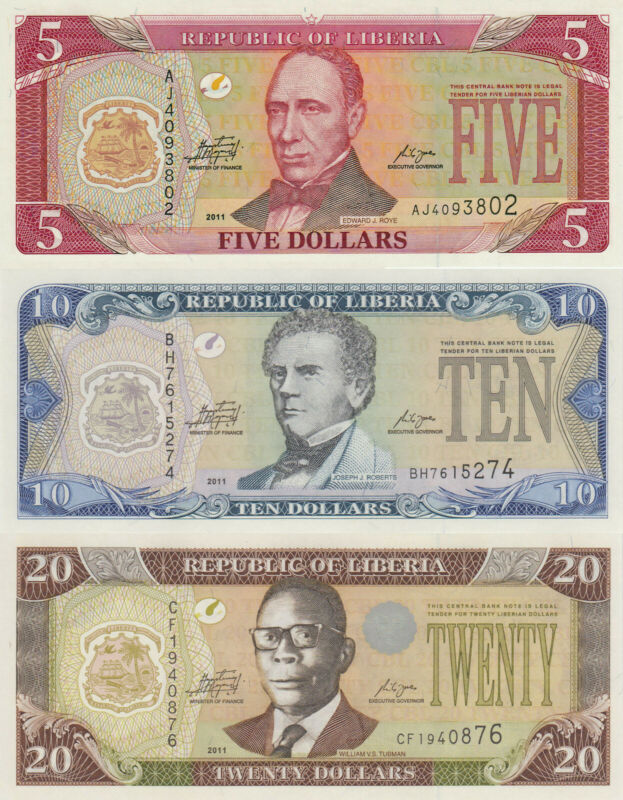 Liberia 3 Note Set: 5 to 20 Dollars (2011) - p26f, 27f and 28f UNC UNC