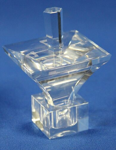 """Jewish Crystal Dreidel With Stand Etched Hebrew Letters 3.25"""" Tall"""