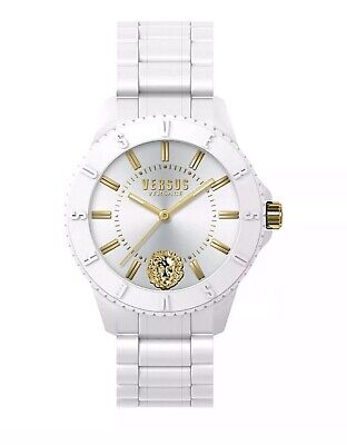 "NIB VERSACE VERSUS WOMEN ""TOKYO R"" QUARTZ WHITE SILICONE WATCH in GOLD Orig. BOX"