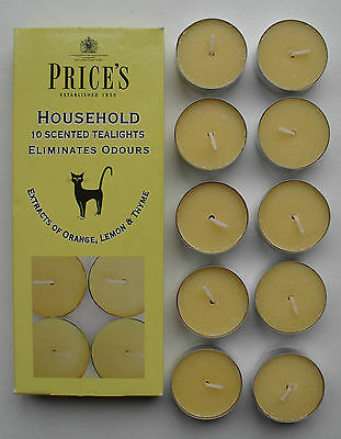 Household Scented Tealights removes pet odours, orange lemon thyme pk 10 Prices