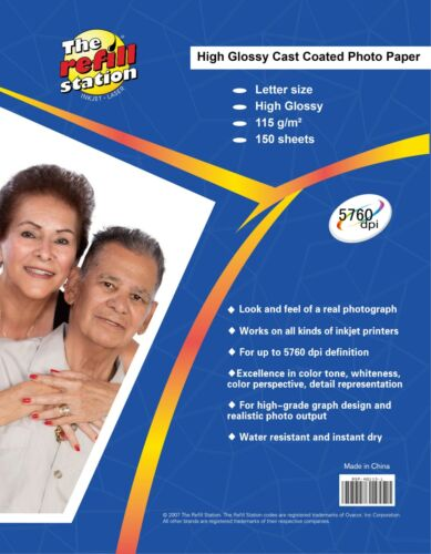 150 Sheets Photo Paper, Premium High Glossy 8 x 11, 115g.