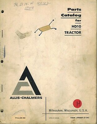 Allis Chalmers Hd10 Crawler Tractor Parts Catalog Manual