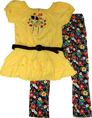 NEW Girls Yellow Peasant Tunic Top Belt & Legging Outfit 3 pc Set  XL 14-16](Peasant Outfits)