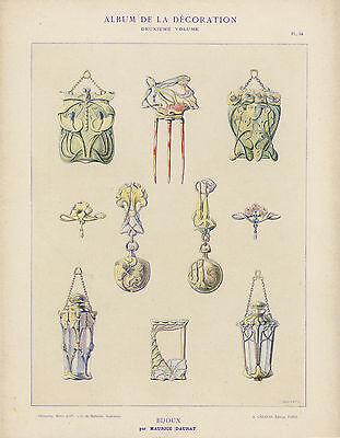 """ART NOUVEAU """"Bijoux"""" by Maurice Daurat 1900 (rare print)"""