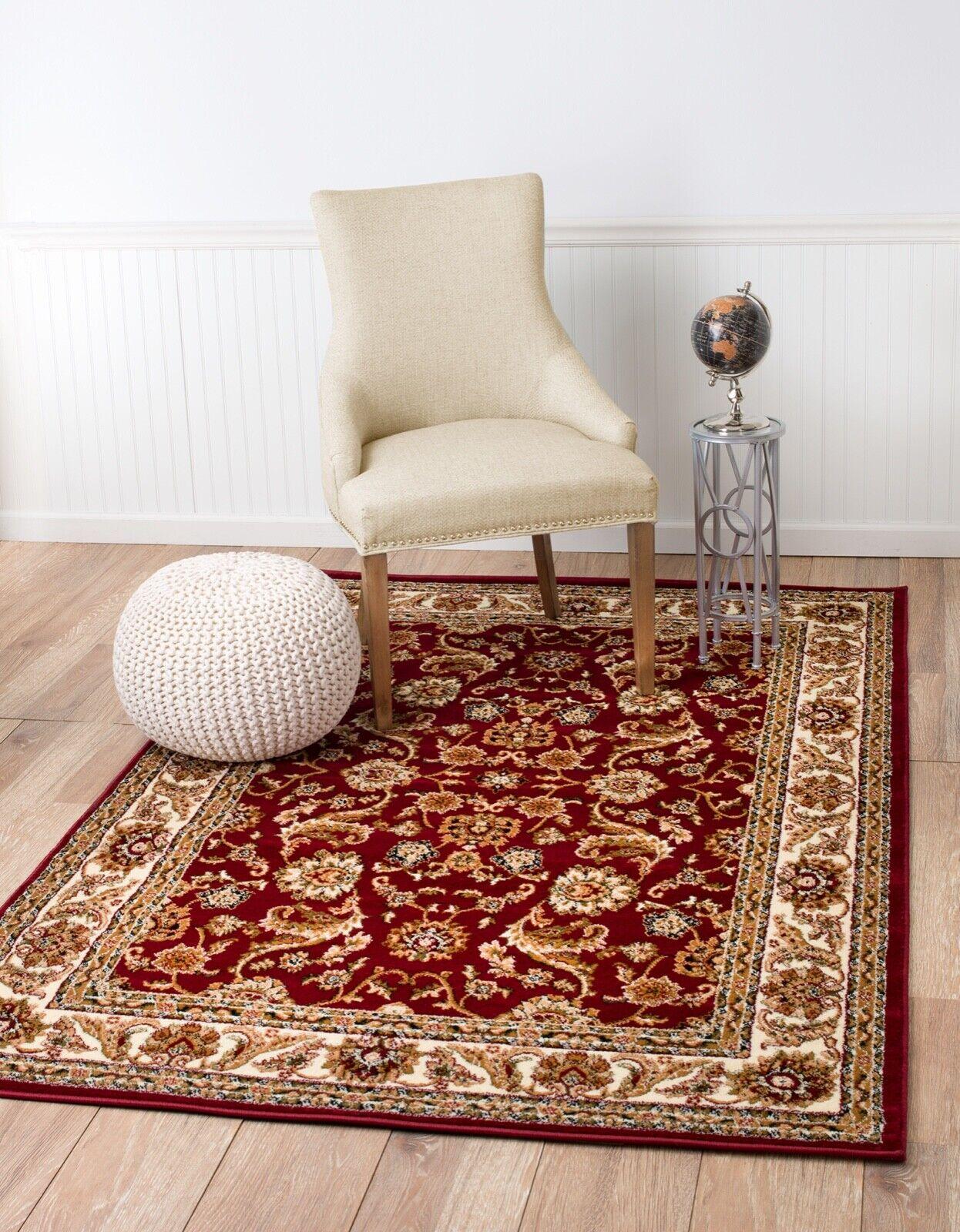 Area rug Smt#16 Traditional burgundy brown design soft pile
