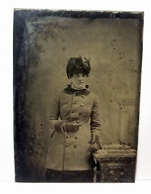 Tintype woman, black feather hat, winter coat, fashion c.1870s, original photo