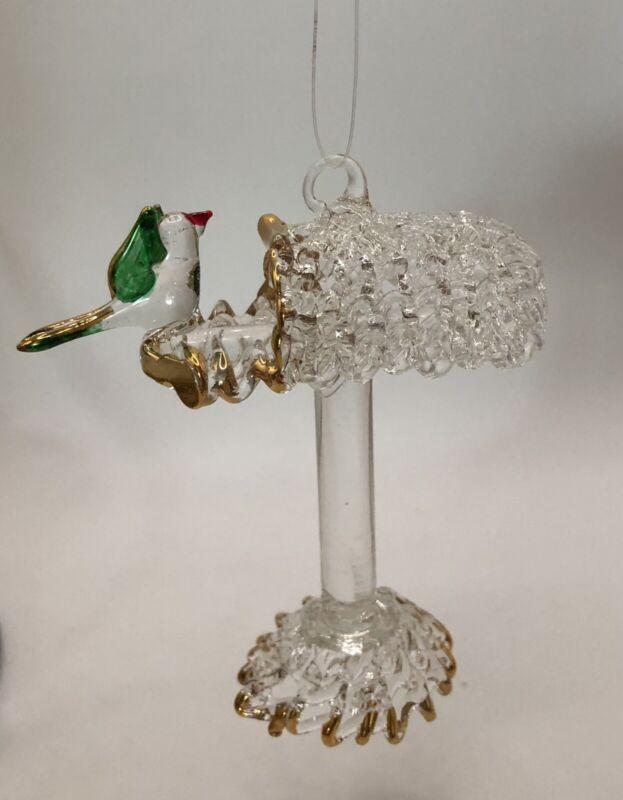 "VINTAGE SPUN GLASS CRYSTAL Mailbox Bird Ornament Figurine Gold Trim 3"" Estate"