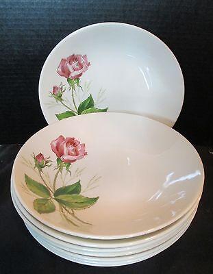 Vintage Knowles Tea Rose Pink 8 Soup Bowls