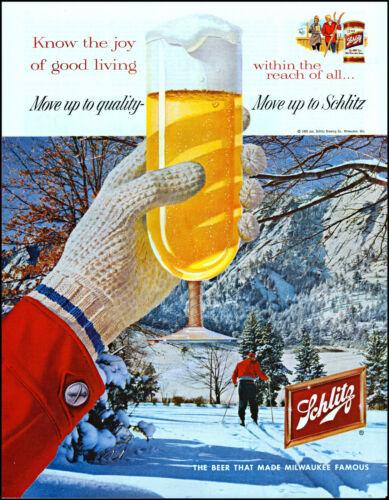 1959 Snow Skier mountain Schlitz Beer glass Milwaukee vintage art print ad adL3