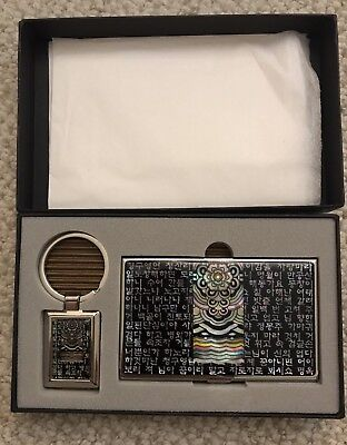 Korean Business Name Card Holder Key Chain Mother Of Pearl Set