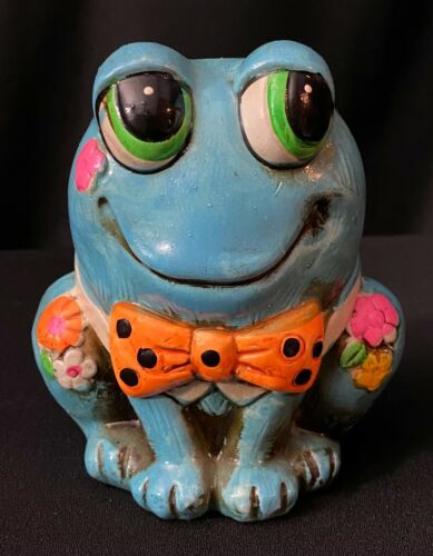 Vintage 1967 Neon Hippy Big Eyes Blue Frog Coin Bank Holiday Fair OSL Japan