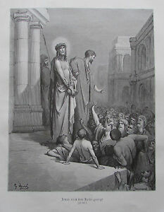 Jesus wird dem Volke gezeigt von Gustave Dore - Holzstich-Tafel aus ca. 1870 - <span itemprop=availableAtOrFrom>Schleinbach, Österreich</span> - Widerrufsrecht Sie haben das Recht, binnen 1 Monat Tagen ohne Angabe von Gründen diesen Vertrag zu widerrufen. Die Widerrufsfrist beträgt vierzehn Tage ab dem Tag an dem Sie oder ein v - Schleinbach, Österreich