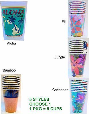 FUN Hawaiian Themed Paper Cups 8 pc 9 oz  Tropical Paradise  7-4B