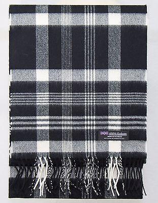 (100% CASHMERE Scarf Black White Check Plaid Tartan Soft SCOTLAND Wool Women D319)