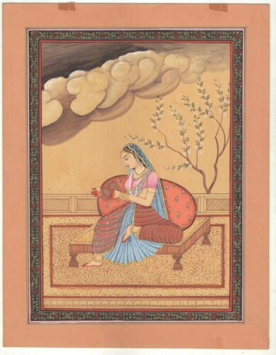 Indian+Miniature+Ethnic+Rajput+Queen+Watercolor+Old+Paper+Painting+Decorative