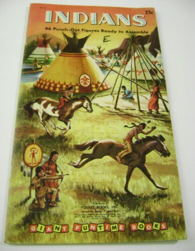 VTG PAPER DOLLS TOY 1956 INDIANS GOLDEN FUNTIME PUNCH BOOK UNUSED!!! giant