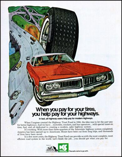 1972 Highway Trust Fund modern highways ATA Kelly tires retro art print ad L83