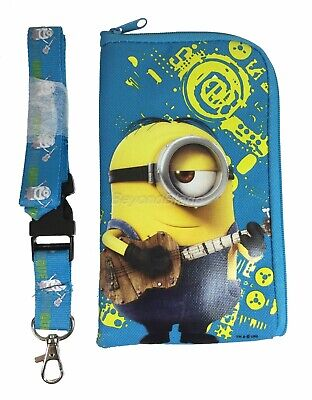 Minion Light Blue Lanyard Fastpass ID Ticket Holders with Detachable Coin - Light Blue Lanyard
