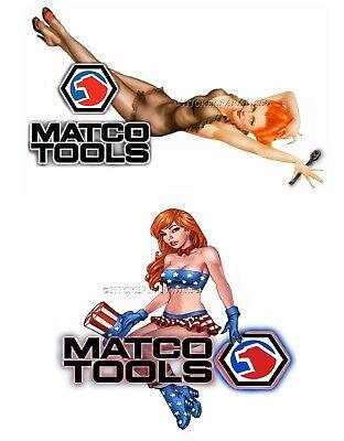 MATCO TOOLS STICKER SET of 2 FA GLOSSY DECALS TOOL BOX SEXY PINUP GIRLS TINS USA