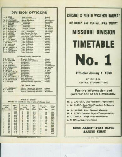CHICAGO & NORTH WESTERN RAILWAY ETT TIMETABLE MISSOURI DIVISION #1  1-1-1969.