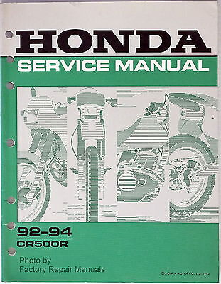 1992 1994 Honda CR500R Factory Service Manual CR500 OEM Shop Repair 1992 1993
